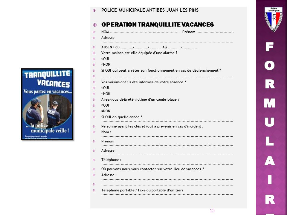 FORMULAIRE OPERATION TRANQUILLITE VACANCES