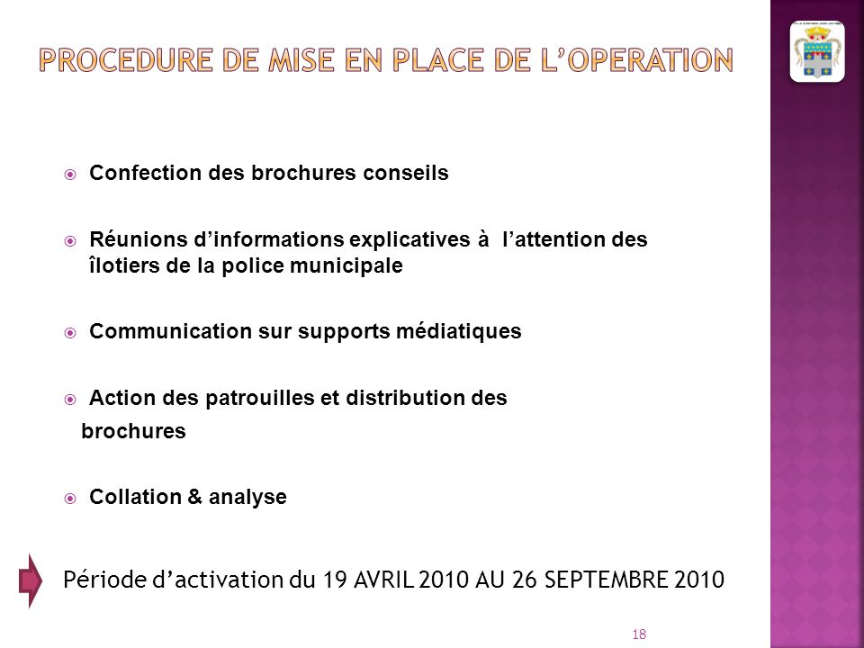 PROCEDURE DE MISE EN PLACE DE L'OPERATION