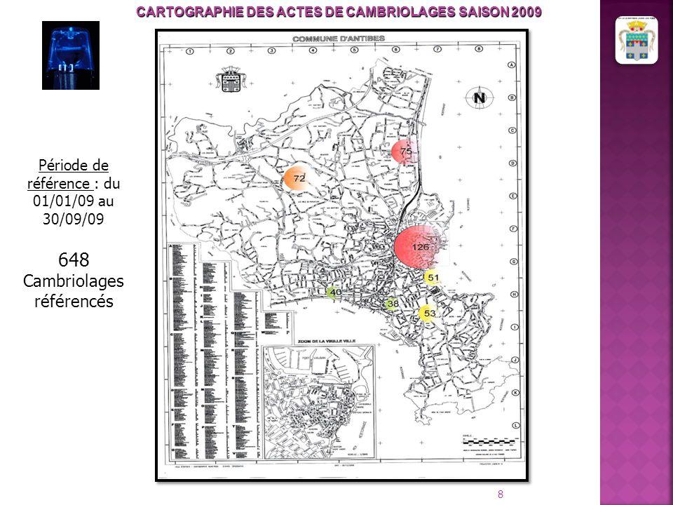 CARTOGRAPHIE DES ACTES DE CAMBRIOLAGES SAISON 2009