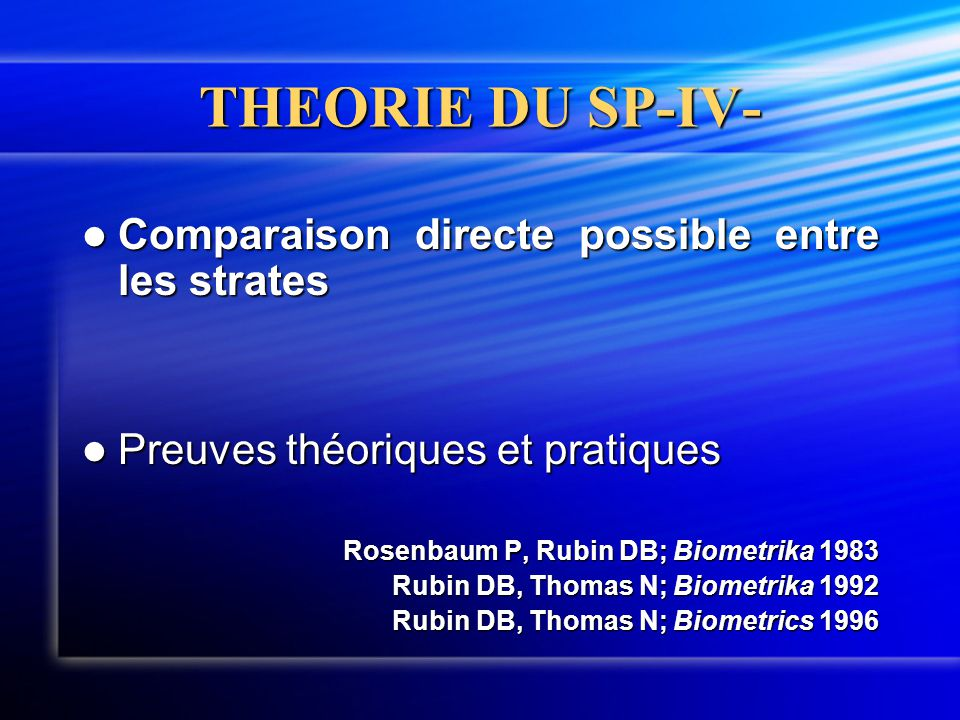 THEORIE DU SP-IV- Comparaison directe possible entre les strates