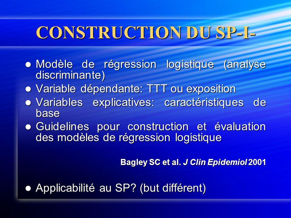 CONSTRUCTION DU SP-I- Modèle de régression logistique (analyse discriminante) Variable dépendante: TTT ou exposition.