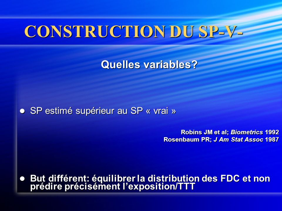 CONSTRUCTION DU SP-V- Quelles variables
