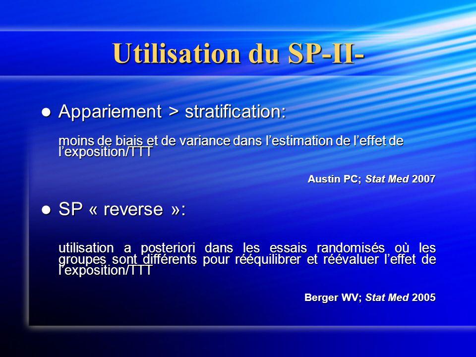 Utilisation du SP-II- Appariement > stratification: moins de biais et de variance dans l'estimation de l'effet de l'exposition/TTT.