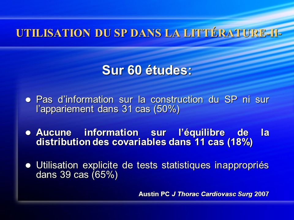UTILISATION DU SP DANS LA LITTÉRATURE-II-