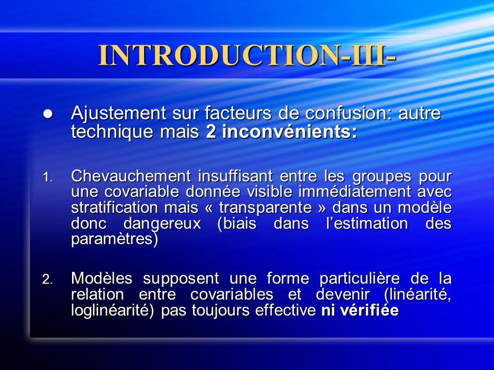 INTRODUCTION-III- Ajustement sur facteurs de confusion: autre technique mais 2 inconvénients: