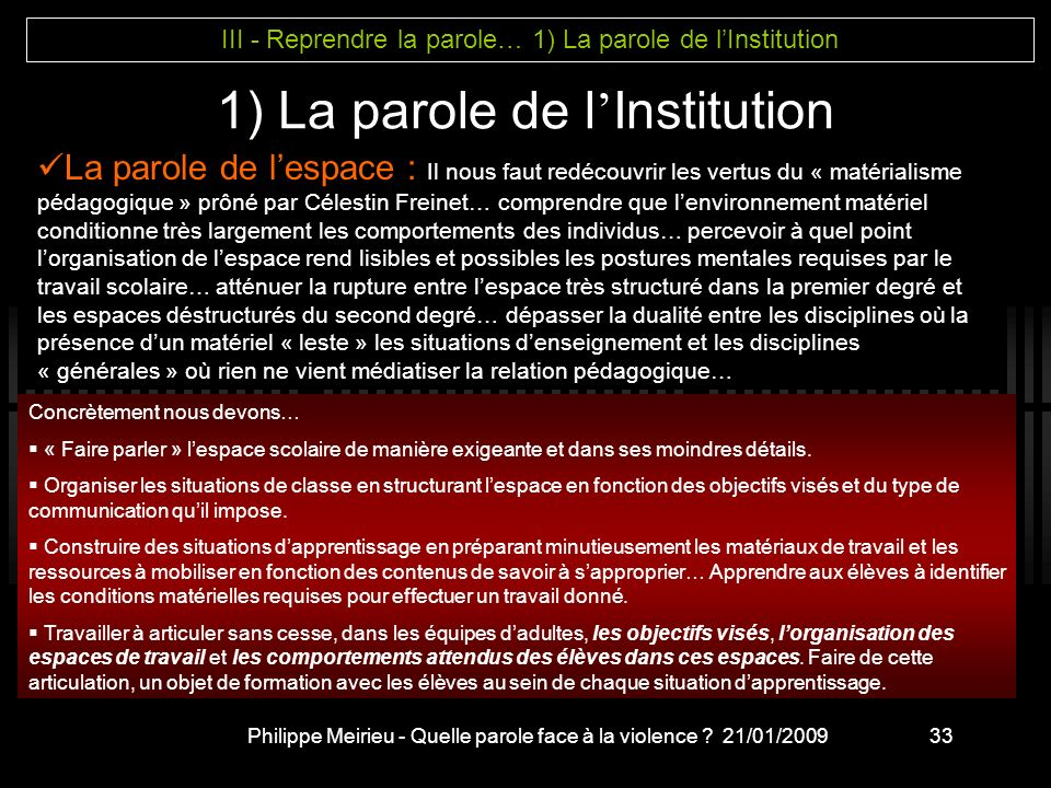 1) La parole de l'Institution