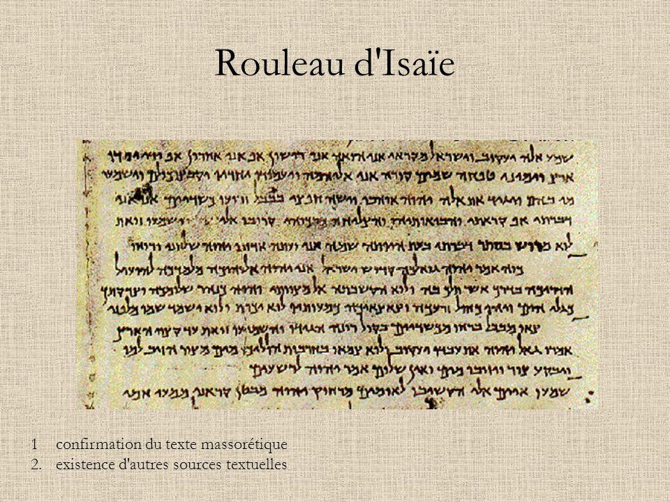 Rouleau d Isaïe 1 confirmation du texte massorétique