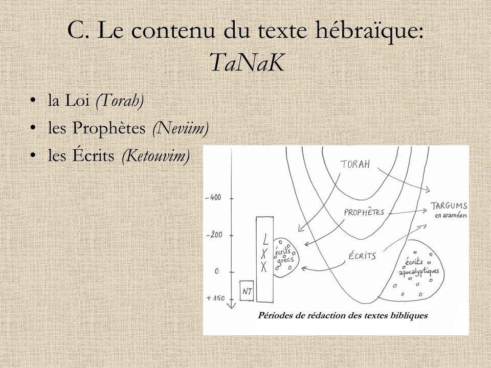 C. Le contenu du texte hébraïque: TaNaK