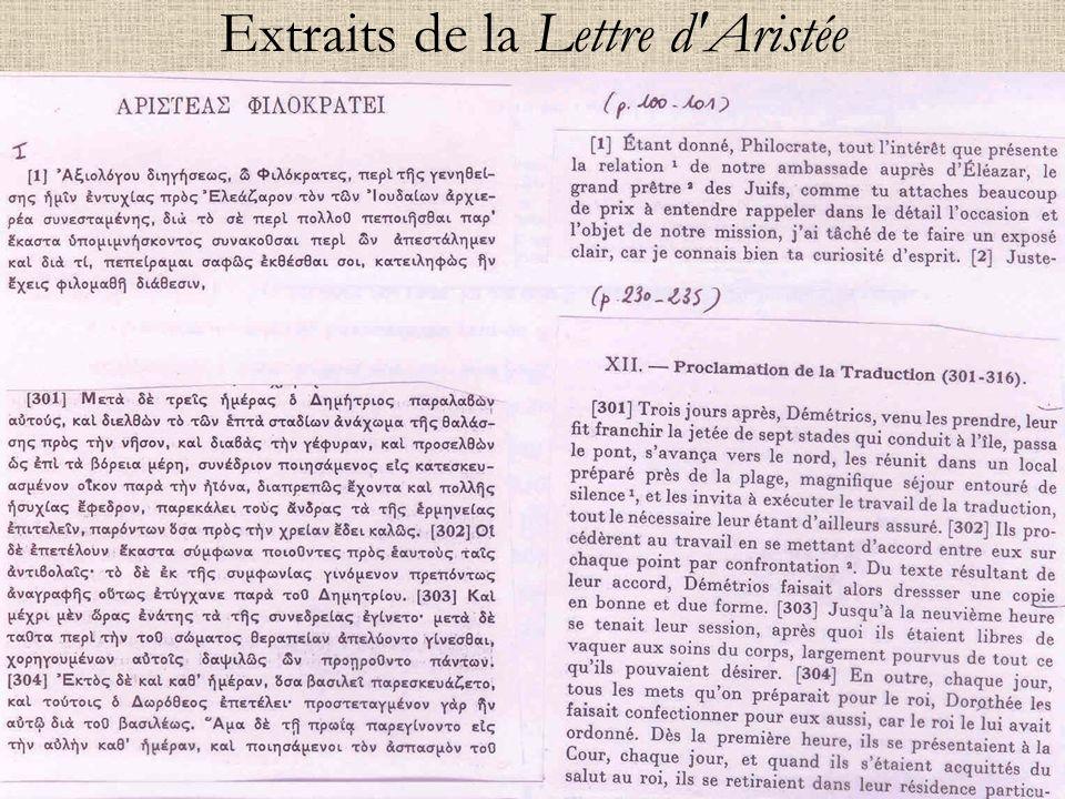 Extraits de la Lettre d Aristée