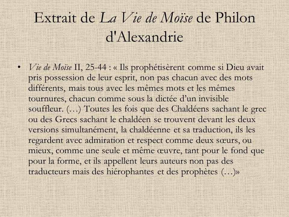 Extrait de La Vie de Moïse de Philon d Alexandrie