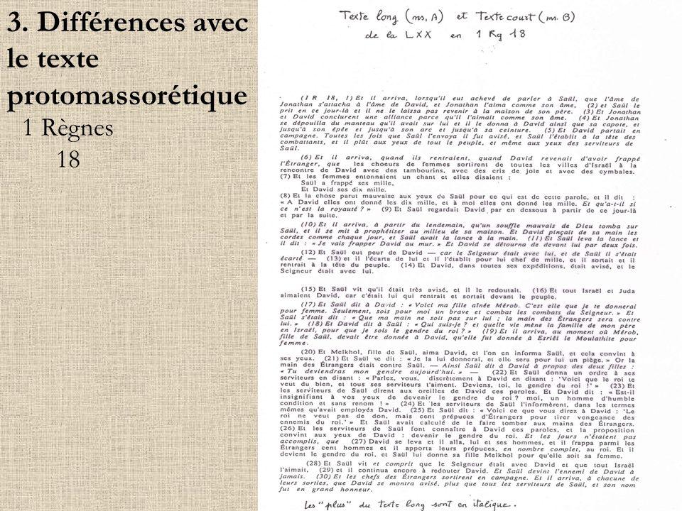 3. Différences avec le texte protomassorétique