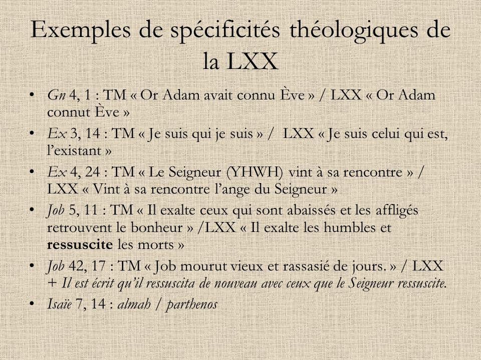 Exemples de spécificités théologiques de la LXX