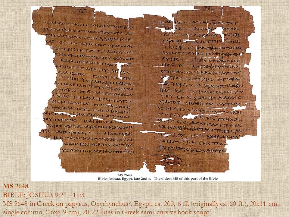 MS 2648 BIBLE: JOSHUA 9:27 - 11:3.