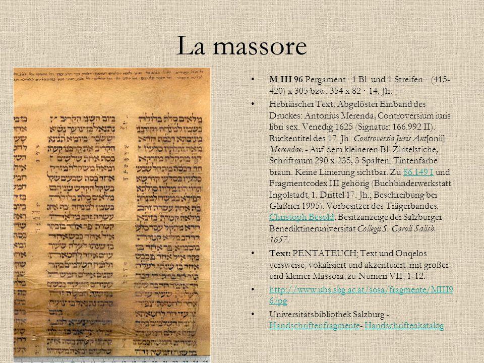 La massore M III 96 Pergament · 1 Bl. und 1 Streifen · (415-420) x 305 bzw. 354 x 82 · 14. Jh.