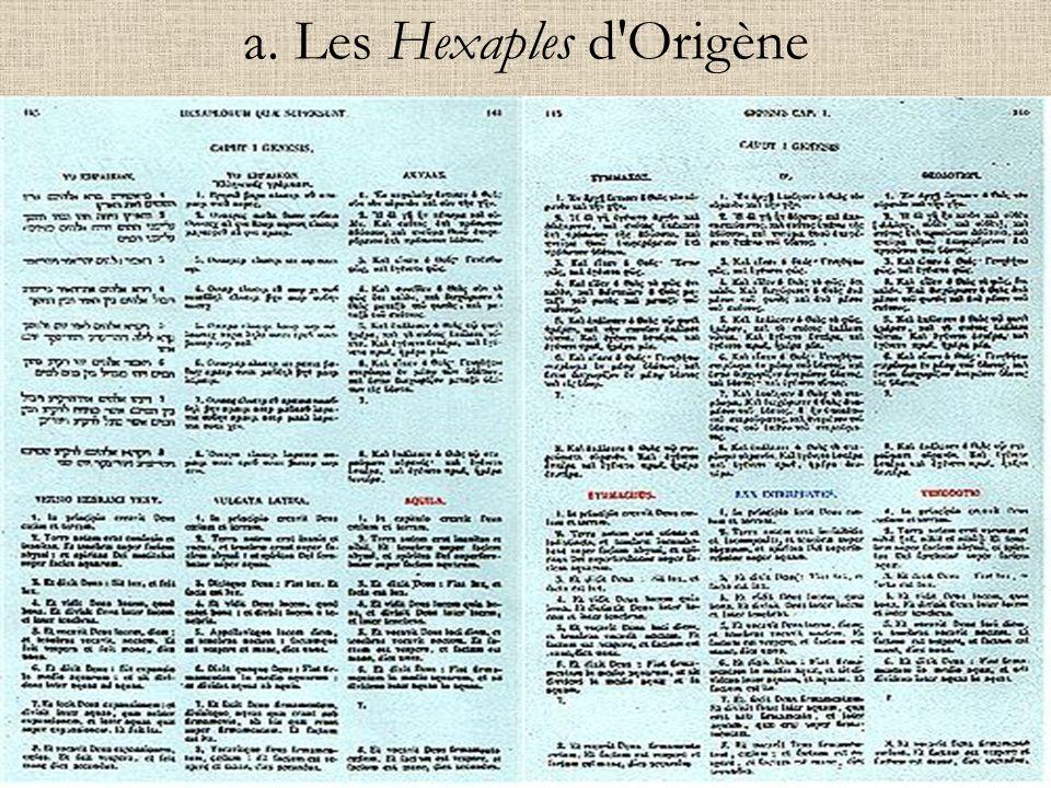 a. Les Hexaples d Origène