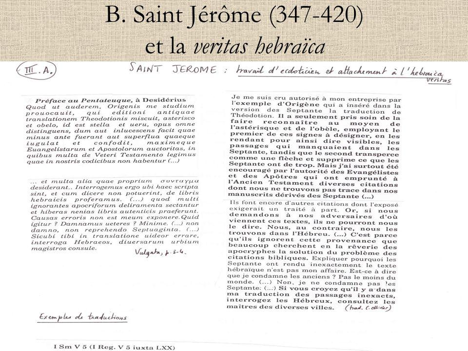 B. Saint Jérôme (347-420) et la veritas hebraïca