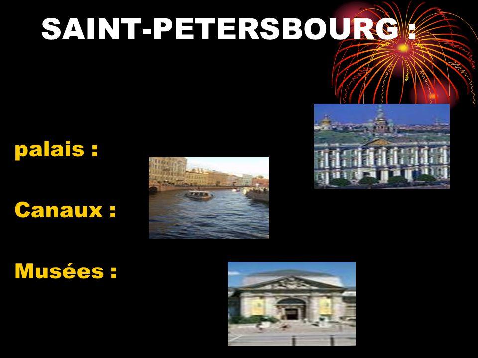 SAINT-PETERSBOURG : palais : Canaux : Musées :
