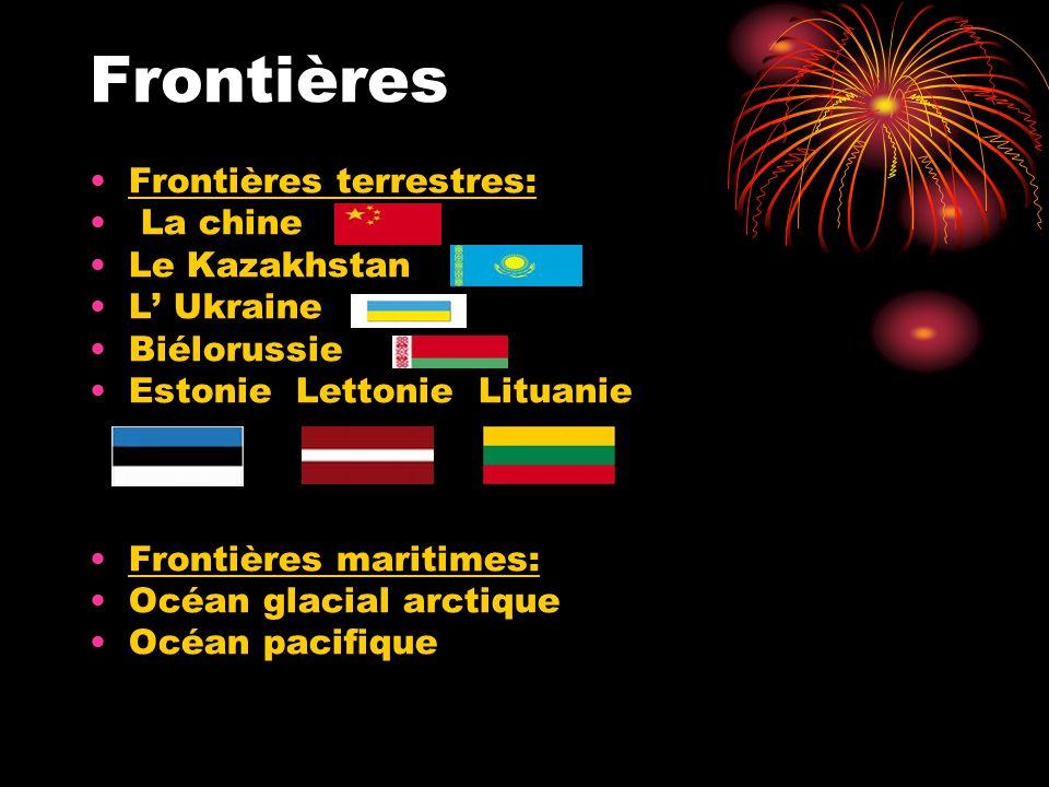 Frontières Frontières terrestres: La chine Le Kazakhstan L' Ukraine