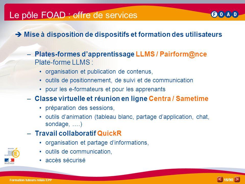 Le pôle FOAD : offre de services