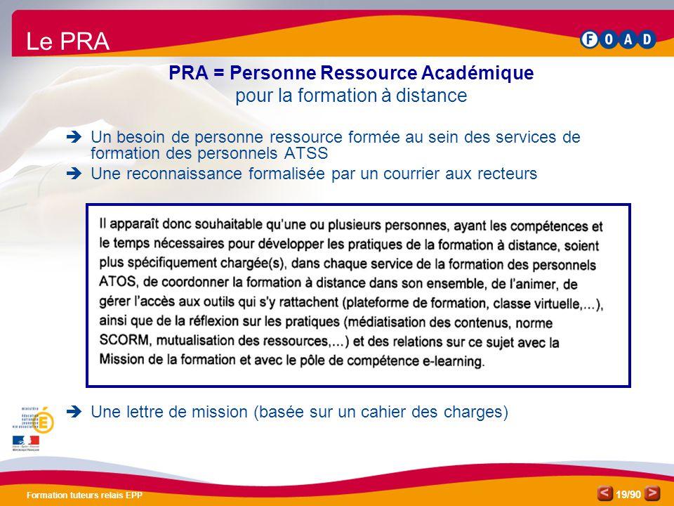Le PRA PRA = Personne Ressource Académique