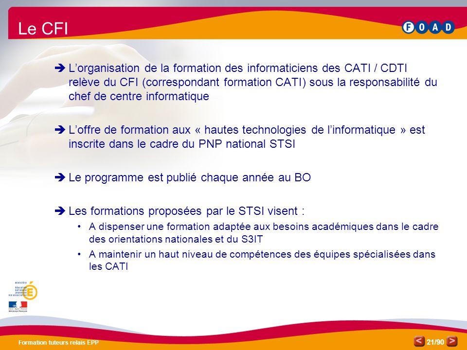 Formation TR EPP Pôle de compétences FOAD. Le CFI.