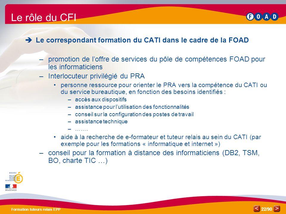 Formation TR EPP Pôle de compétences FOAD. Le rôle du CFI. Le correspondant formation du CATI dans le cadre de la FOAD.