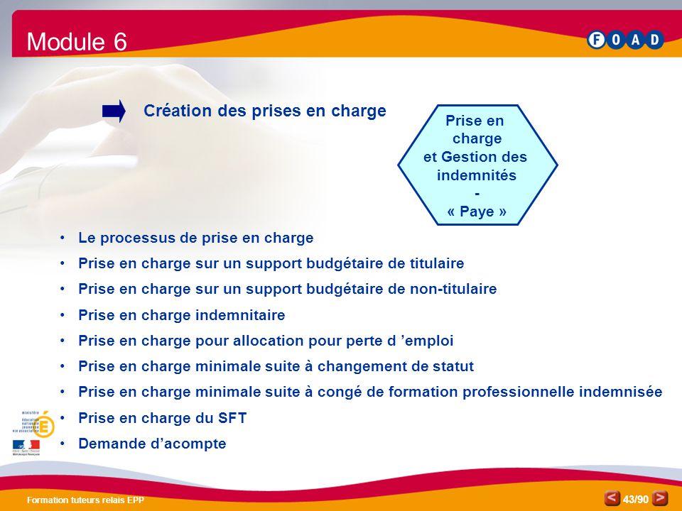 Module 6 Création des prises en charge Prise en charge et Gestion des