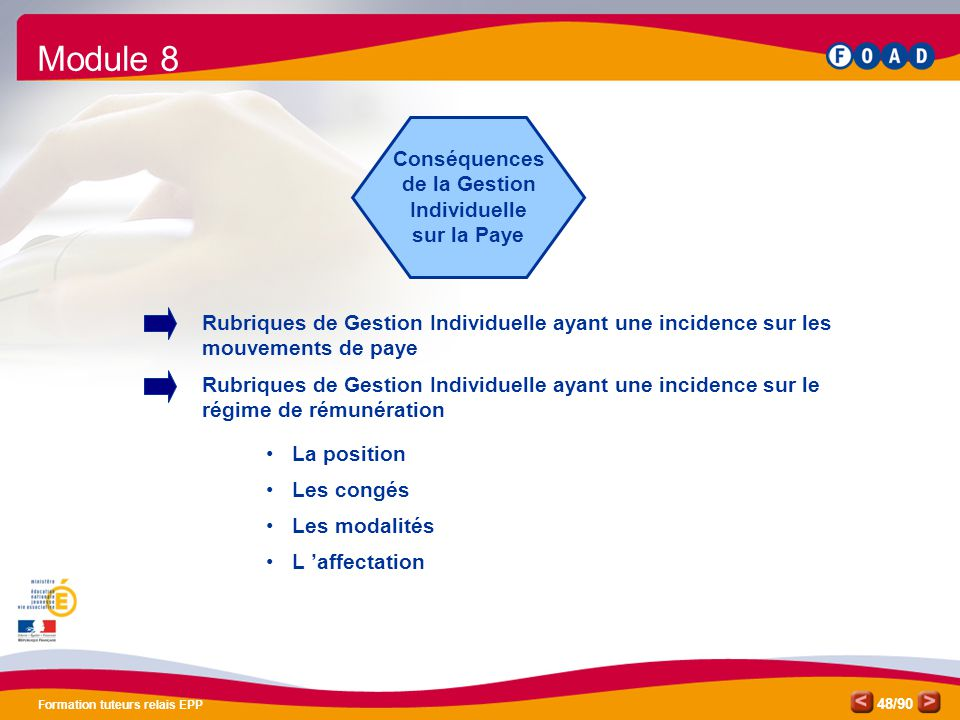Module 8 Conséquences de la Gestion Individuelle sur la Paye