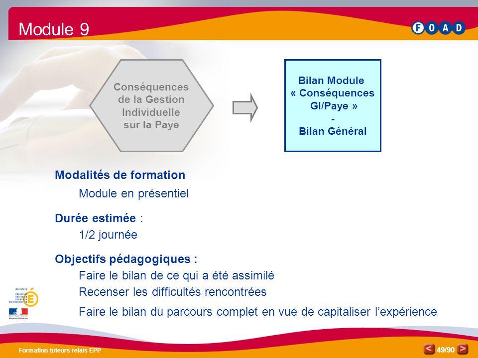 Module 9 Modalités de formation Module en présentiel Durée estimée :