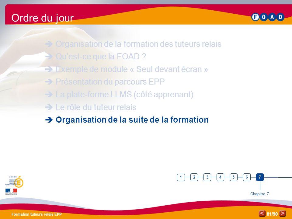 Ordre du jour Organisation de la formation des tuteurs relais