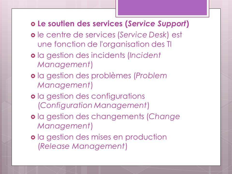 Le soutien des services (Service Support)
