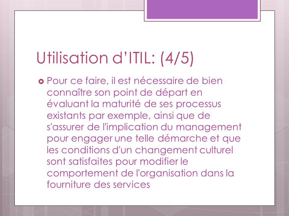 Utilisation d'ITIL: (4/5)