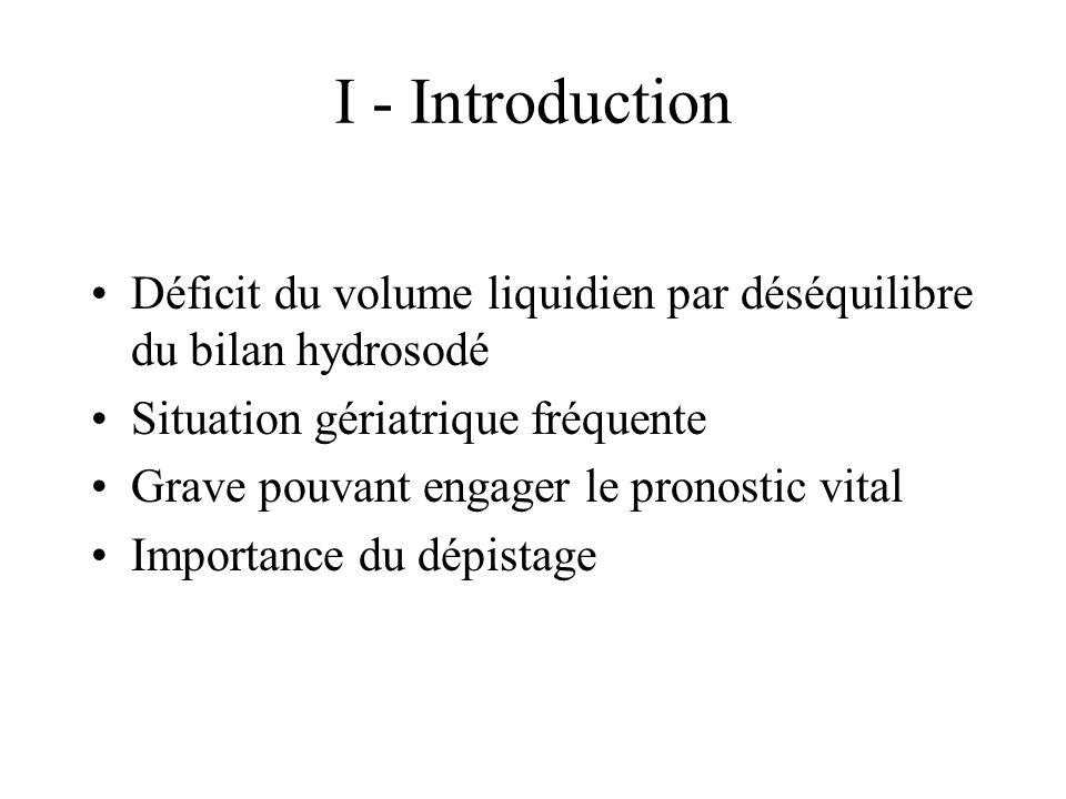 I - Introduction Déficit du volume liquidien par déséquilibre du bilan hydrosodé. Situation gériatrique fréquente.