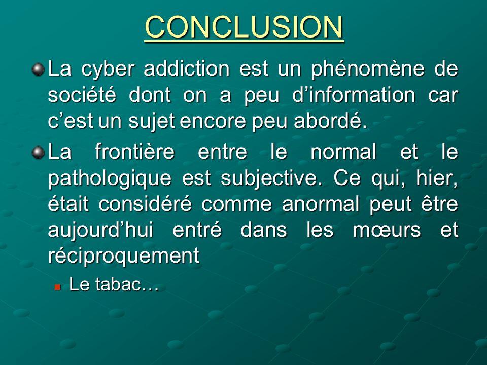 CONCLUSIONLa cyber addiction est un phénomène de société dont on a peu d'information car c'est un sujet encore peu abordé.