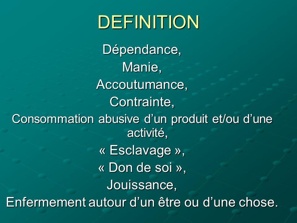 DEFINITION Dépendance, Manie, Accoutumance, Contrainte, « Esclavage »,
