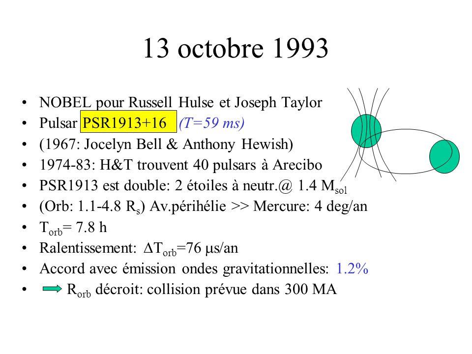 13 octobre 1993 NOBEL pour Russell Hulse et Joseph Taylor