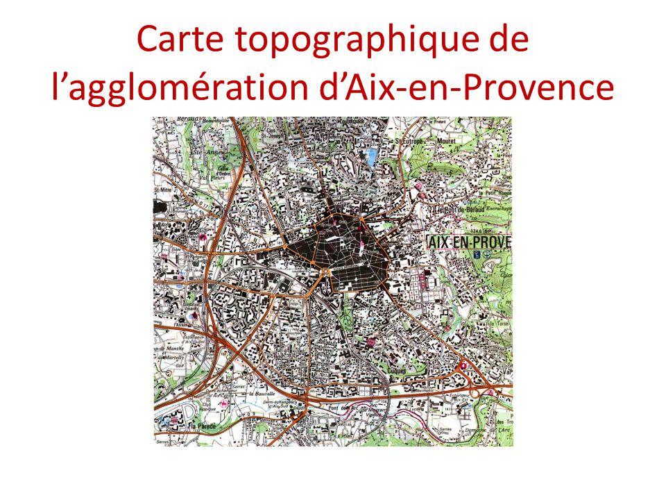 Carte topographique de l'agglomération d'Aix-en-Provence