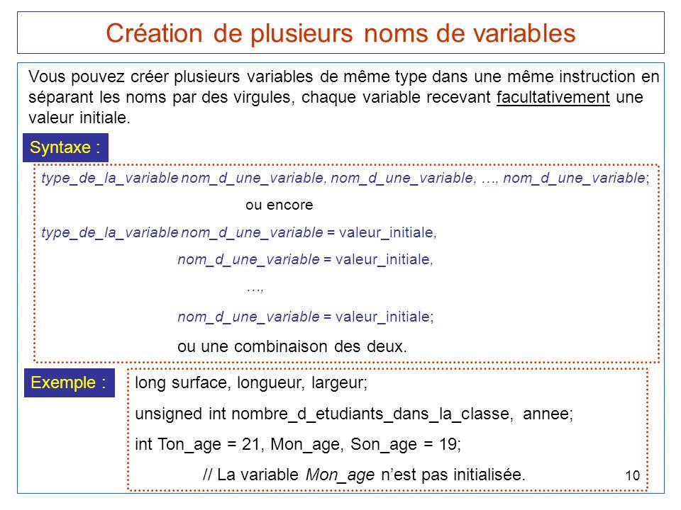 Création de plusieurs noms de variables