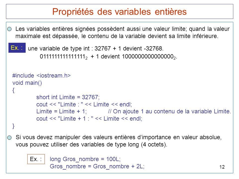 Propriétés des variables entières