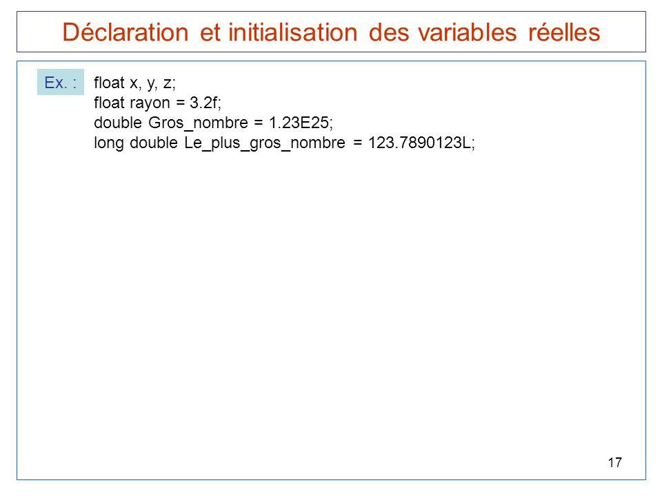 Déclaration et initialisation des variables réelles