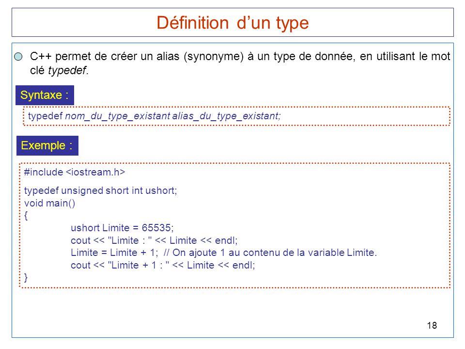 Définition d'un type C++ permet de créer un alias (synonyme) à un type de donnée, en utilisant le mot.