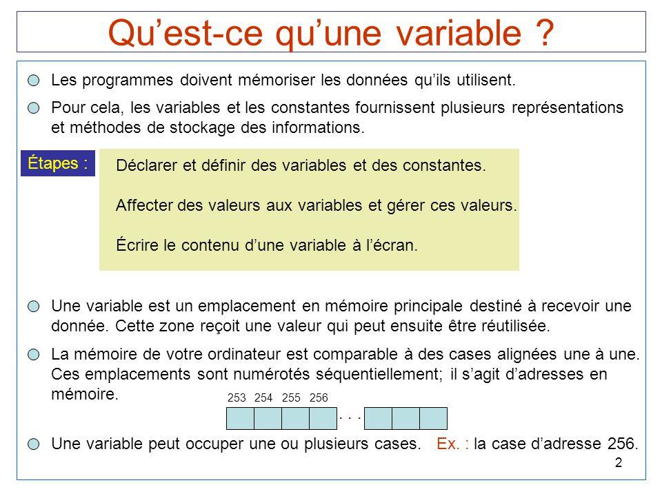 Qu'est-ce qu'une variable