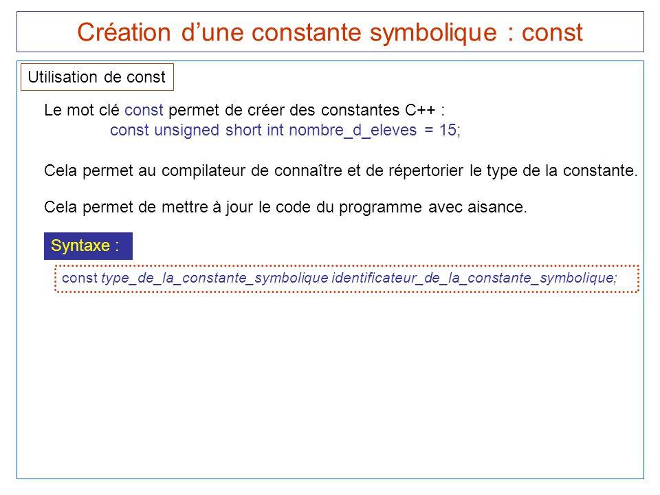 Création d'une constante symbolique : const