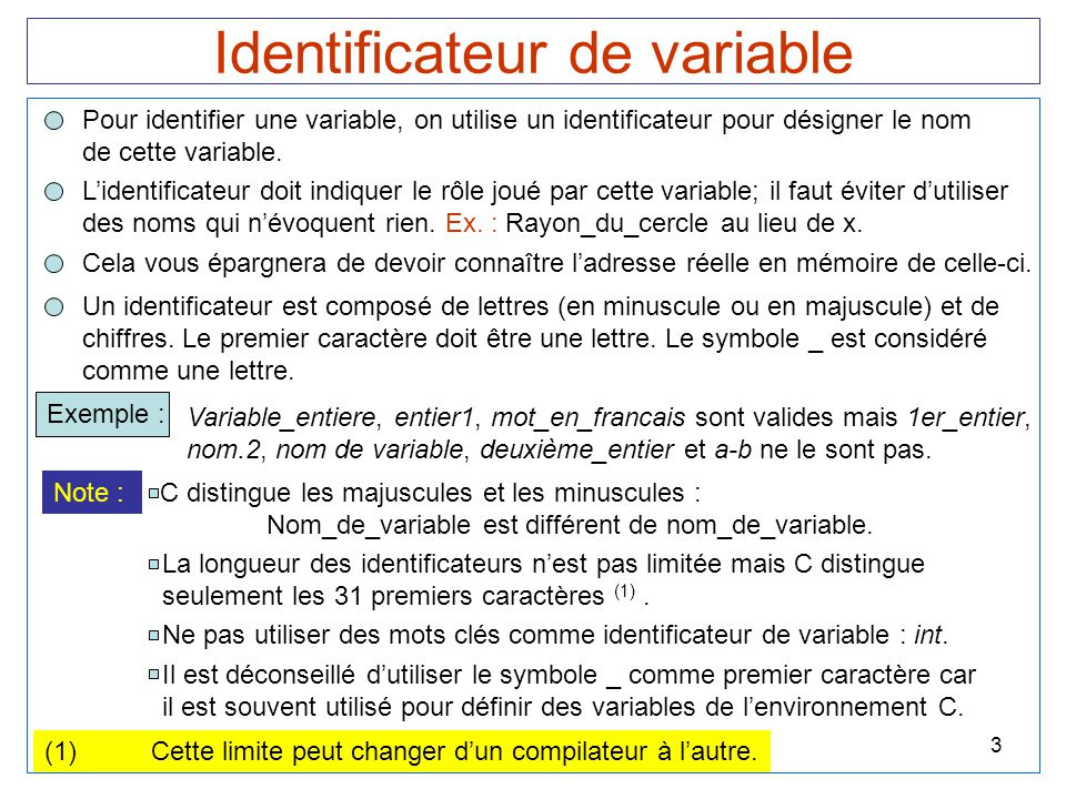 Identificateur de variable