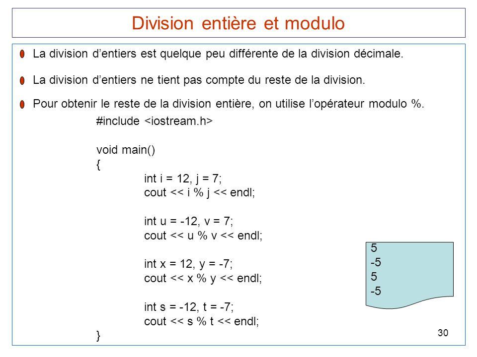 Division entière et modulo