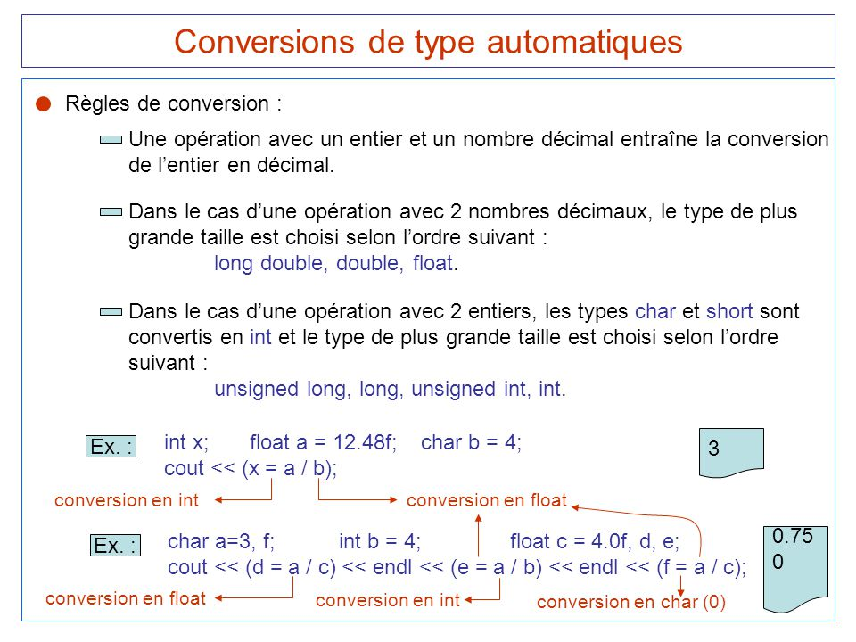 Conversions de type automatiques