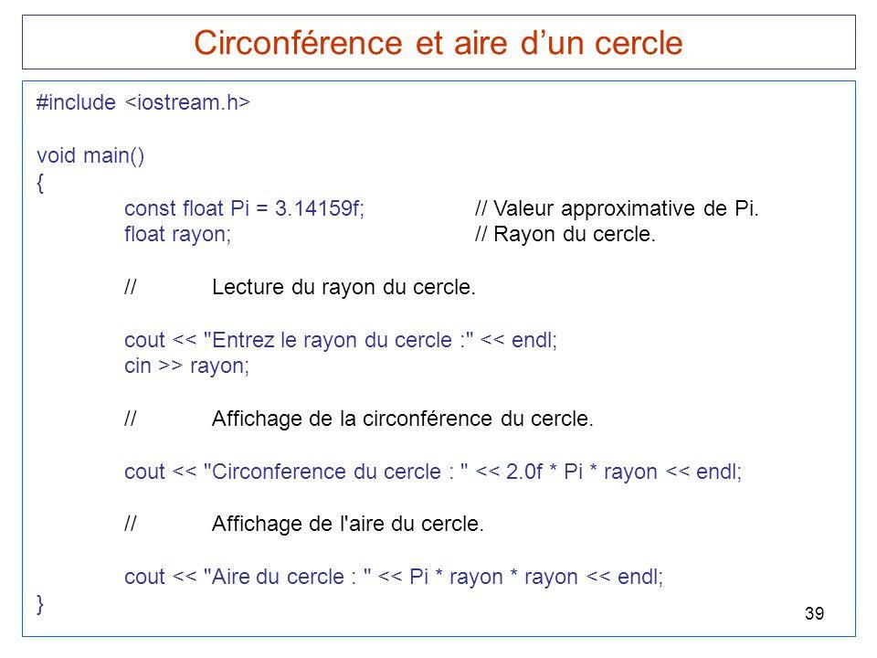 Circonférence et aire d'un cercle