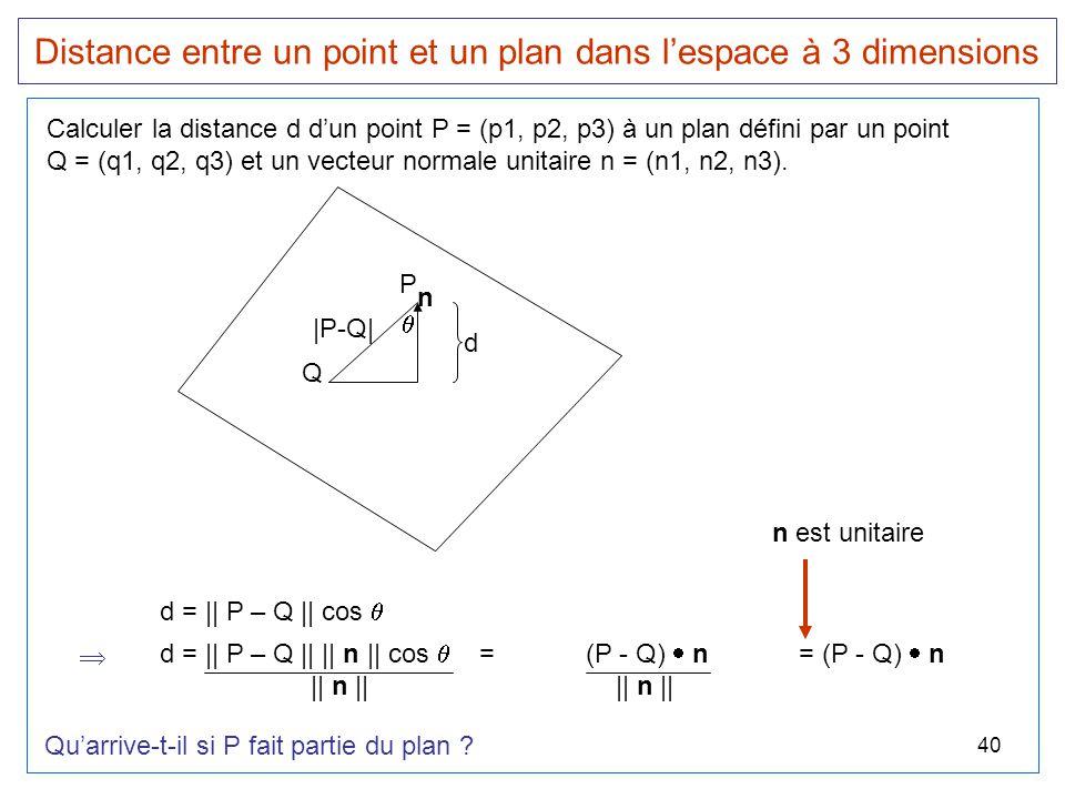 Distance entre un point et un plan dans l'espace à 3 dimensions