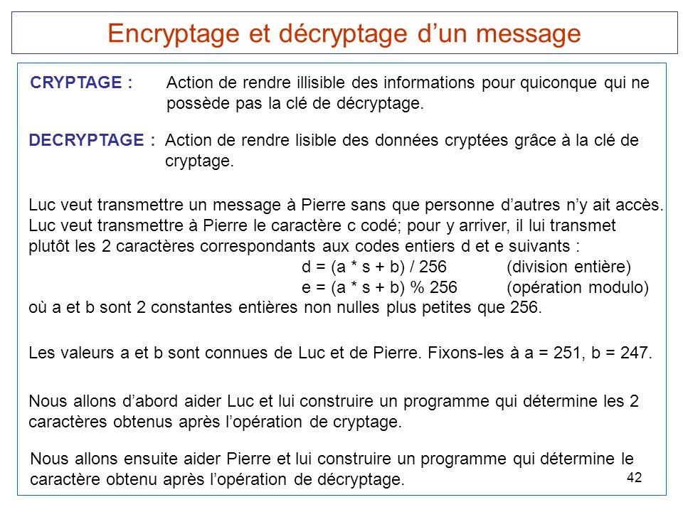 Encryptage et décryptage d'un message