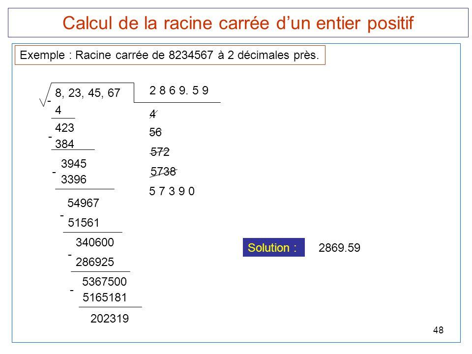 Calcul de la racine carrée d'un entier positif